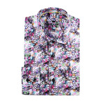 Paisley Abstract Long-Sleeve Button-Up // Pink (M)