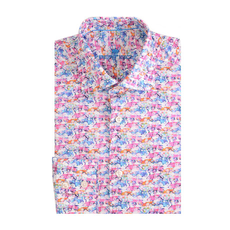 Old Cars Print Long-Sleeve Button-Up // Pink (XS)