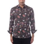 Cube + Shapes Abstract Print Long-Sleeve Button-Up // Black (XS)