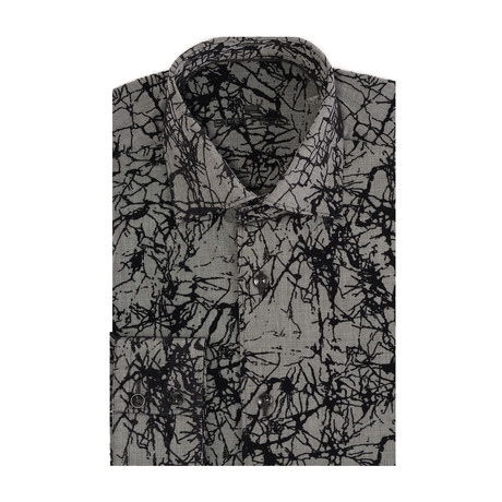 Abstract Flock Long-Sleeve Button-Up // Grey (XS)