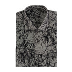 Abstract Flock Long-Sleeve Button-Up // Grey (M)