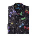 Firefly Poplin Print Long-Sleeve Button-Up // Black (M)
