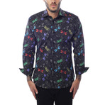 Firefly Poplin Print Long-Sleeve Button-Up // Black (L)