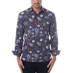 Cube + Shapes Abstract Print Long-Sleeve Button-Up // Navy Blue (M)