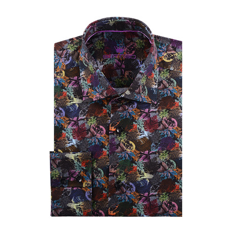 Fall Leaves Long-Sleeve Button-Up // Black + Multicolor (XS)