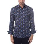 Fall Leaves Long-Sleeve Button-Up // Navy Blue (3XL)