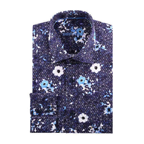 Cube + Shapes Abstract Print Long-Sleeve Button-Up // Navy Blue (XS)