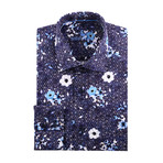 Cube + Shapes Abstract Print Long-Sleeve Button-Up // Navy Blue (L)