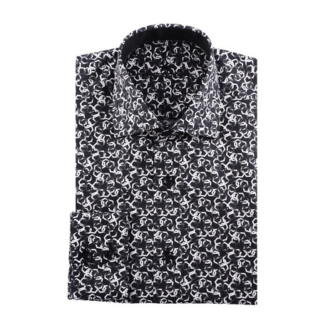 Pentagon Abstract Design Long-Sleeve Button-Up // Black (XS)