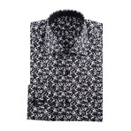 Pentagon Abstract Design Long-Sleeve Button-Up // Black (M)