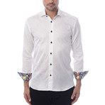 Abstract Jacquard Long-Sleeve Button-Up // White (L)