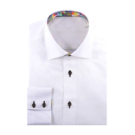 Abstract Jacquard Long-Sleeve Button-Up // White (XS)