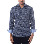 Pentagon Abstract Design Long-Sleeve Button-Up // Navy Blue (L)