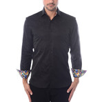 Abstract Jacquard Long-Sleeve Button-Up // Black (S)