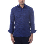 Camo Jacquard Long-Sleeve Button-Up // Navy Blue (3XL)