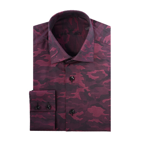 Camo Jacquard Long-Sleeve Button-Up // Red (XS)