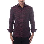 Camo Jacquard Long-Sleeve Button-Up // Red (M)