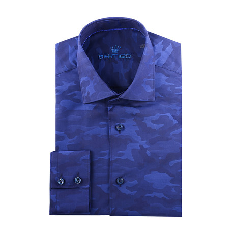 Camo Jacquard Long-Sleeve Button-Up // Navy Blue (XS)
