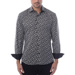 Pentagon Abstract Design Long-Sleeve Button-Up // Black (S)