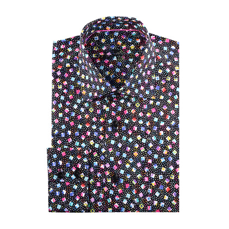 Confetti Abstract Print Long-Sleeve Button-Up // Black (XS)