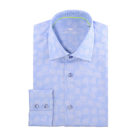 Leaves Long-Sleeve Button-Up // Light Blue (XS)