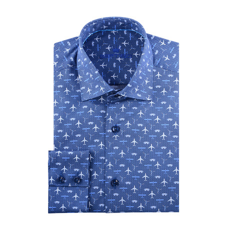 Airplane Print Long-Sleeve Button-Up // Navy Blue (XS)