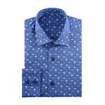 Airplane Print Long-Sleeve Button-Up // Navy Blue (3XL)