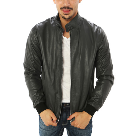 Alessio Genuine Leather Jacket // Charcoal (S)