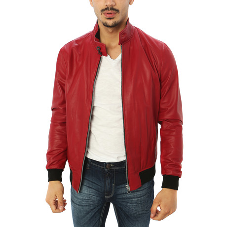 Alessio Genuine Leather Jacket // Red (S)