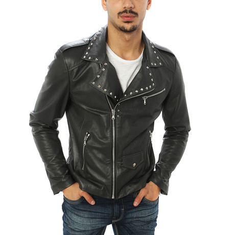Vincenzo Leather Jacket // Charcoal (S)