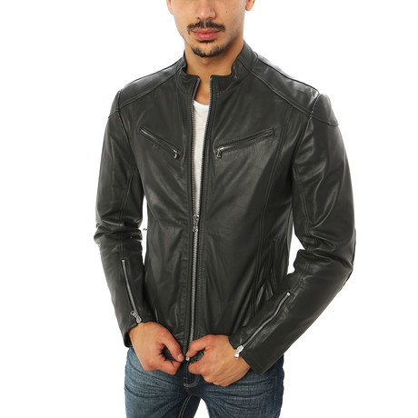 Salvatore Motorcycle Jacket // Charcoal (S)