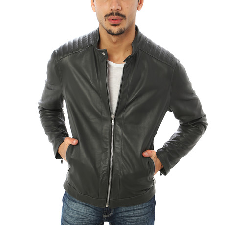 Stefano Motorcycle Jacket // Charcoal (S)