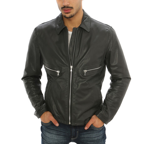 Giorgio Italian Leather Jacket // Charcoal (S)