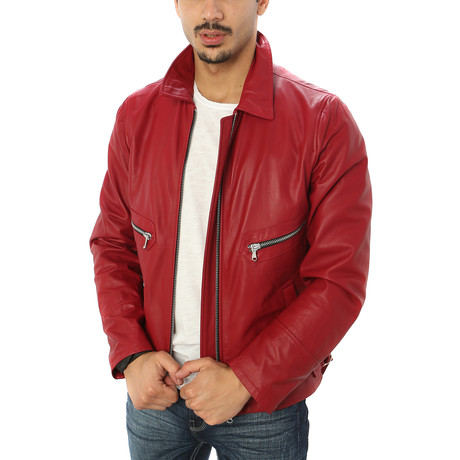 Giorgio Italian Leather Jacket // Red (S)