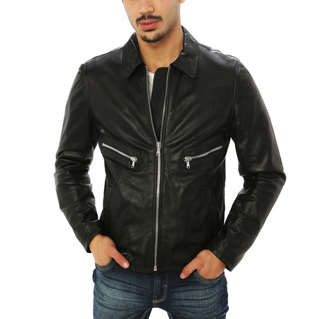 Giorgio Italian Leather Jacket // Midnight Black (S)