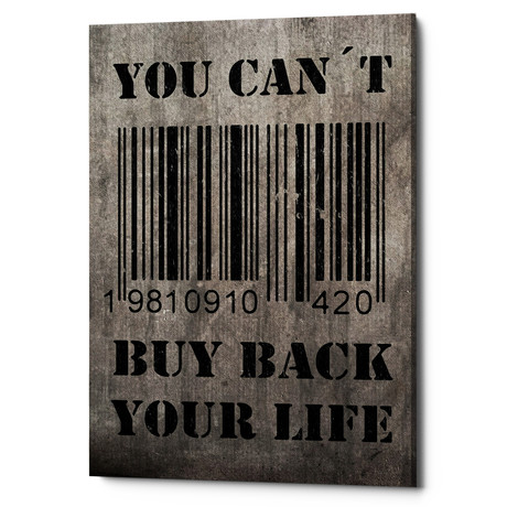 "You Can't Buy Back Your Life (18""W x 26""H x 0.75""D)"