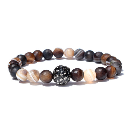 "Cosmo Crusted Bracelet // Brown + Black (7"")"