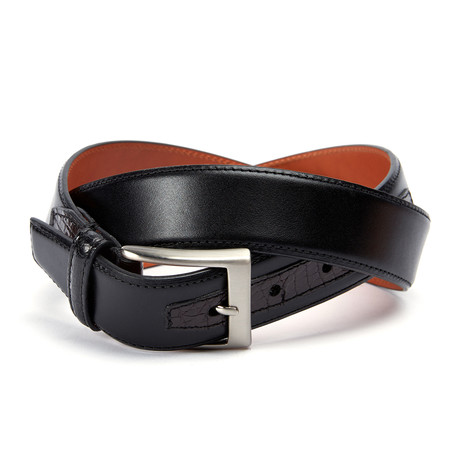 "Monte Carlo Belt + Genuine Crocodile Loop + Tab // Black (36"" Waist)"