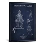 "Toy Robot Navy Blue Patent Blueprint // Aged Pixel (26""W x 18""H x 0.75""D)"