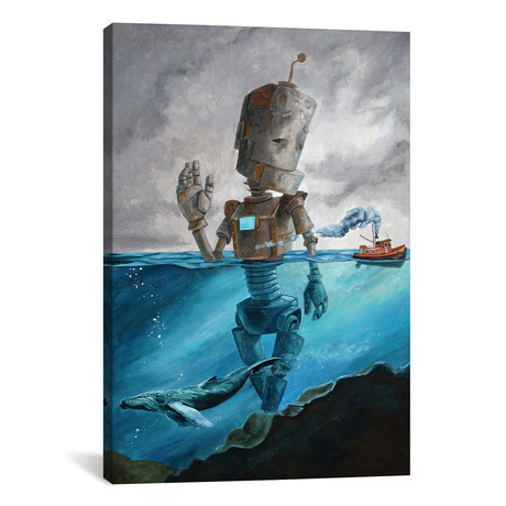 "Tug Bot // Robots in Rowboats (26""W x 18""H x 0.75""D)"
