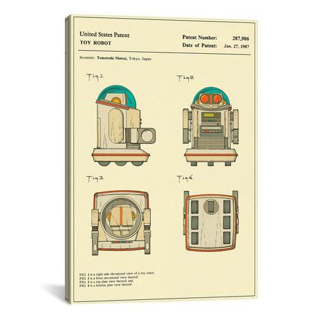 """Tomotoshi Matsui // Tomy Kogyo, Inc. // Toy Robot I // Jazzberry Blue (26""""W x 18""""H x 0.75""""D)"""