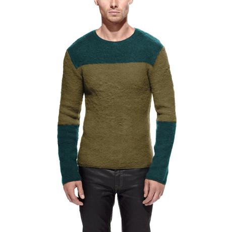 Jugar Merino Wool Block Sweater // Olive + Jade (S)