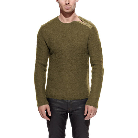 Merino Wool Zip Sweater // Olive (S)