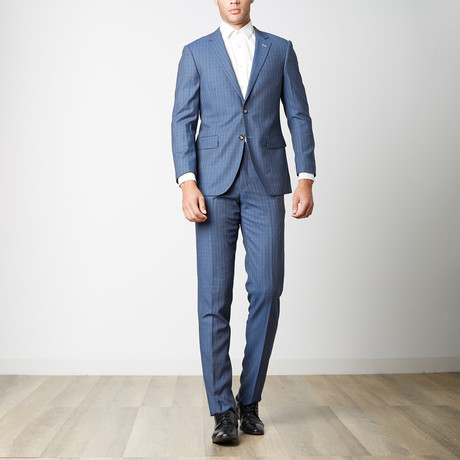 Paolo Lercara // Modern Fit Suit // Blue Boxes (US: 38R)