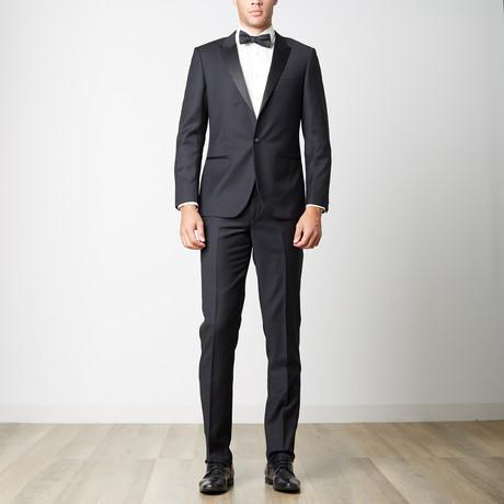 Bella Vita // Slim Fit Peak Lapel Suit // Black (US: 38R)