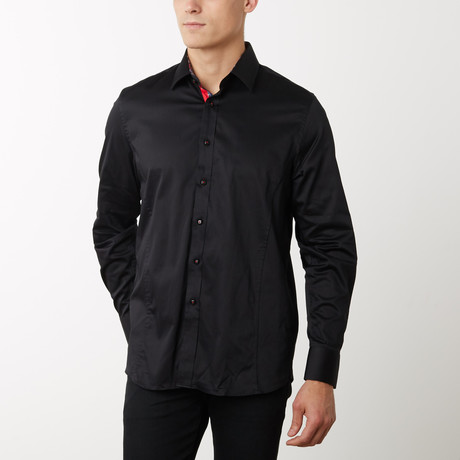 Frank Slim-Fit Dress Shirt // Black (S)