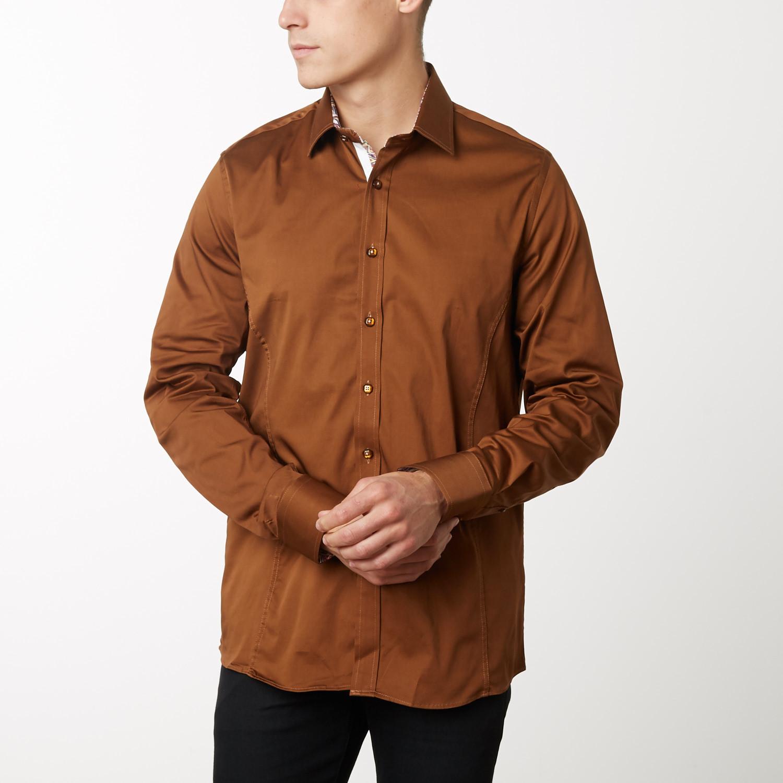 Damion Slim Fit Dress Shirt Light Brown S Tr Premium Touch