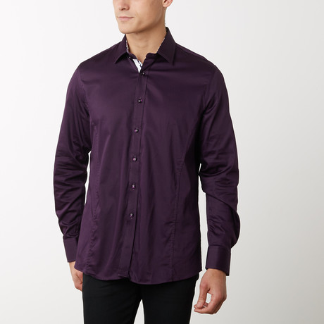 Damion Slim-Fit Dress Shirt // Eggplant (S)