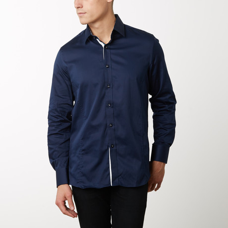 Damion Slim-Fit Dress Shirt // Navy (S)