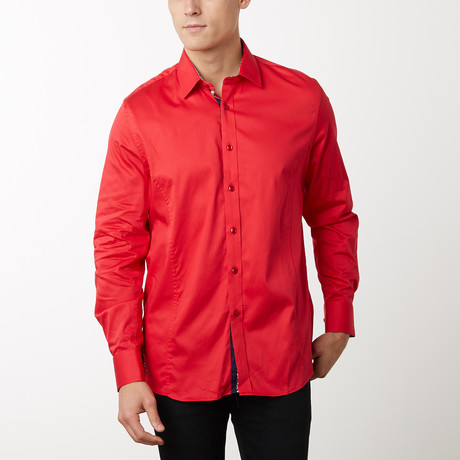 Damion Slim-Fit Dress Shirt // Red (S)